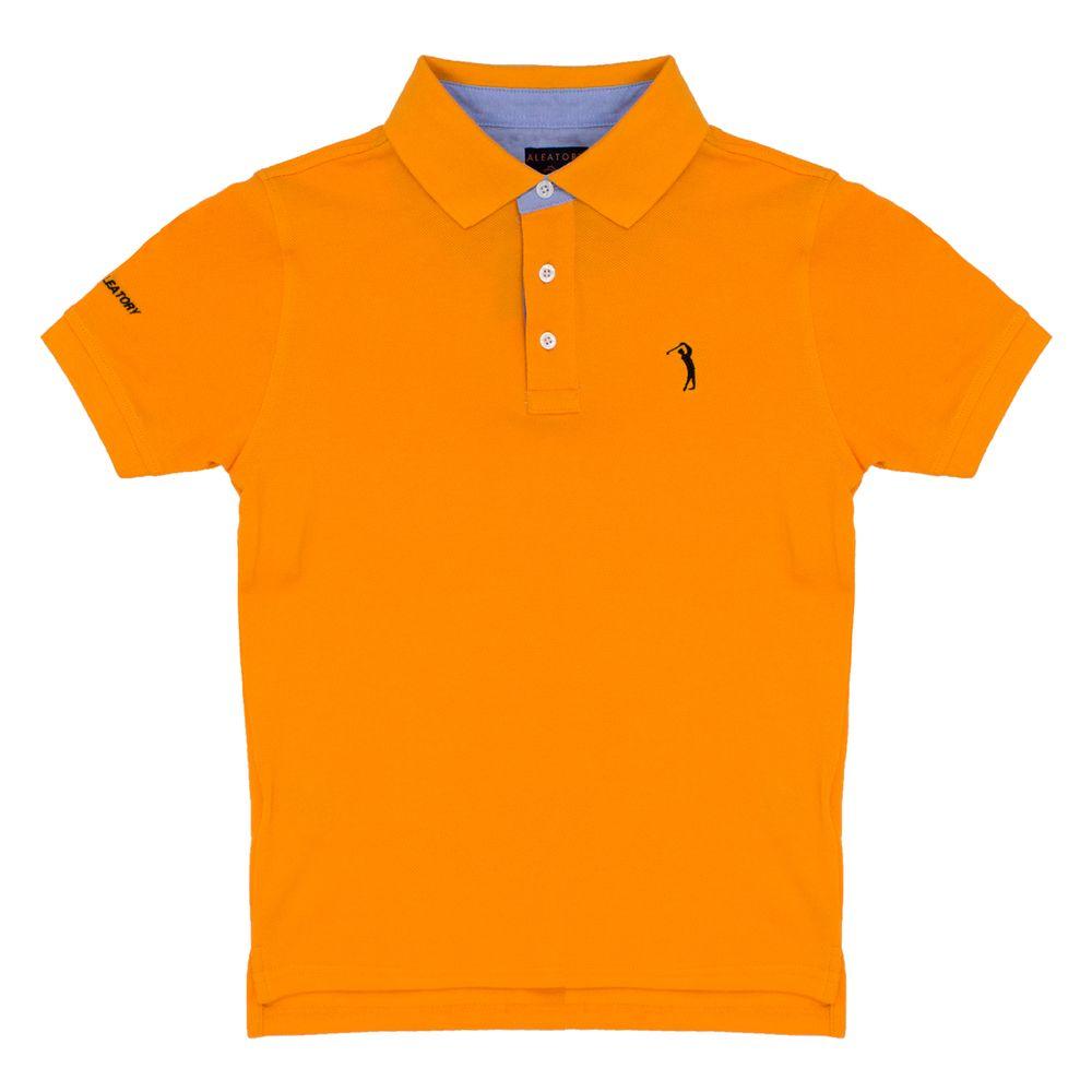 Camisa Polo Laranja Lisa Infantil Aleatory - Aleatory 55b28ddb86699