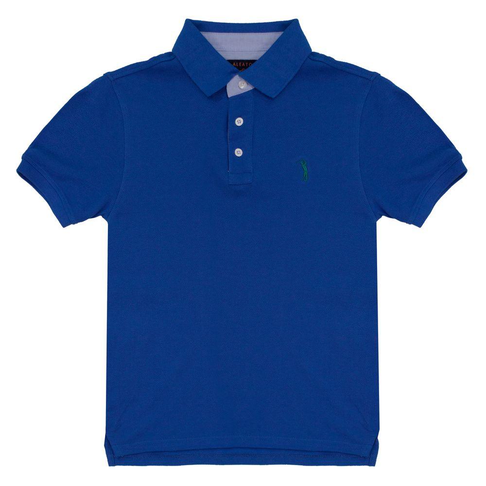 63ae42f981144 Camisa Polo Azul Lisa Infantil Aleatory - Aleatory