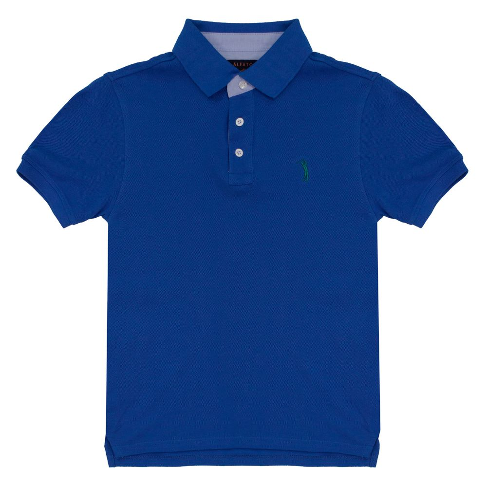 Camisa Polo Azul Lisa Infantil Aleatory - Aleatory b39a27933ddf5