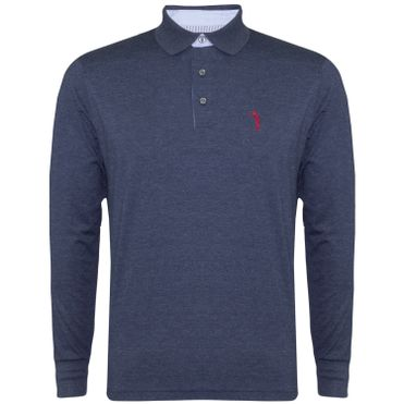 Camisa Polo Aleatory Lisa Manga Longa Azul 6feddc38aab22