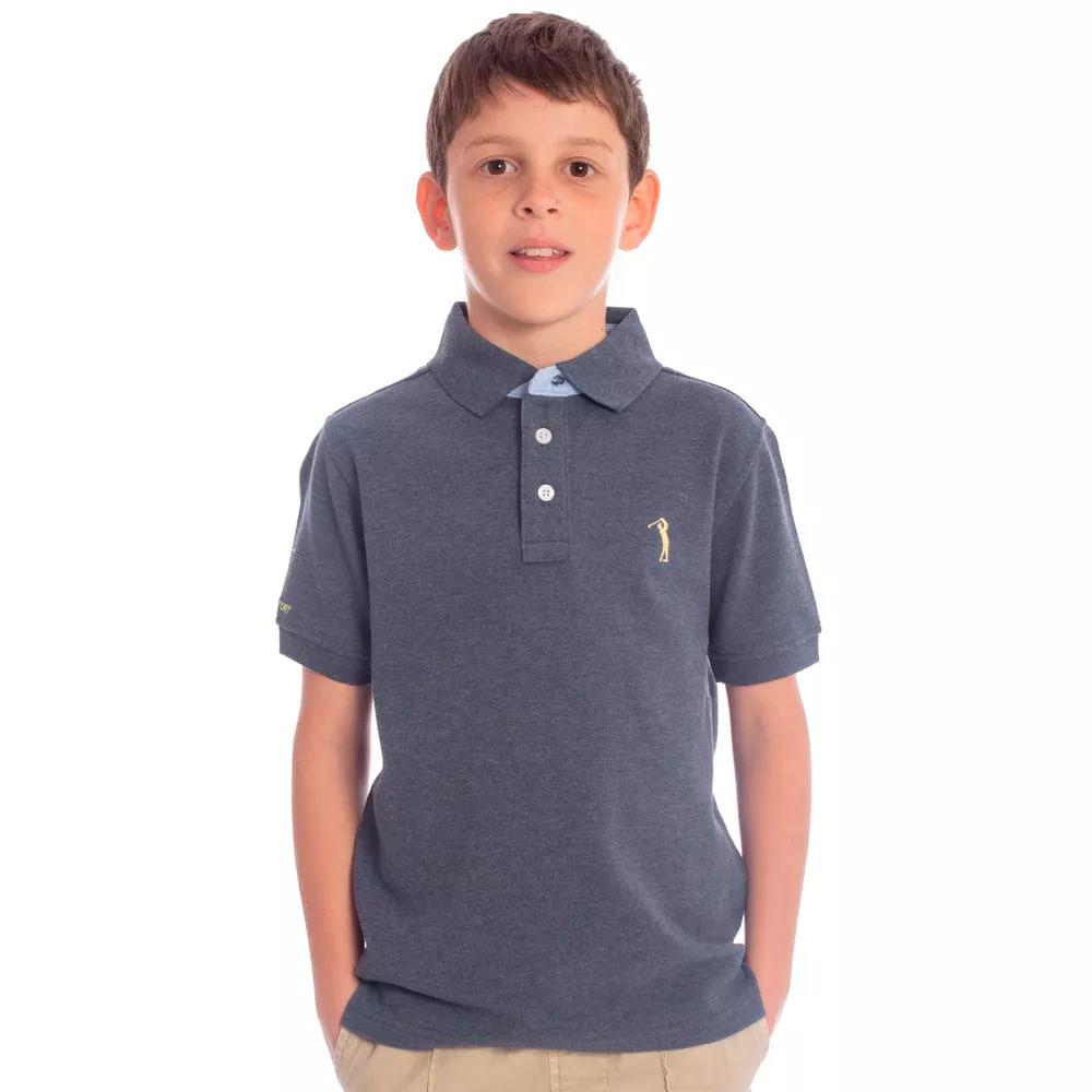 b716073c85 Camisa Polo Aleatory Infantil Lisa Azul Mescla - Aleatory