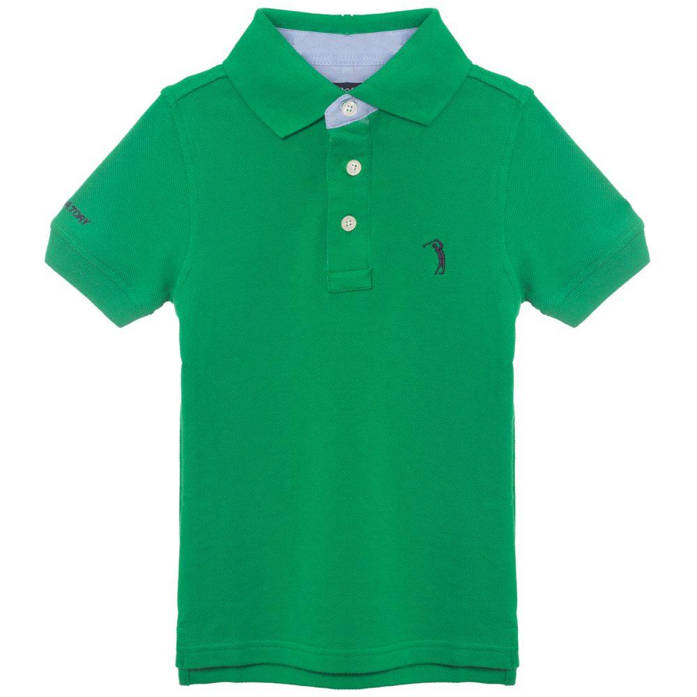Camisa Polo Verde Lisa Infantil Aleatory - Aleatory 9591c8953a8d5