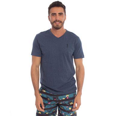 798a8c1d40 Camiseta Aleatory Lisa 1 2 Malha Gola V Azul - Aleatory