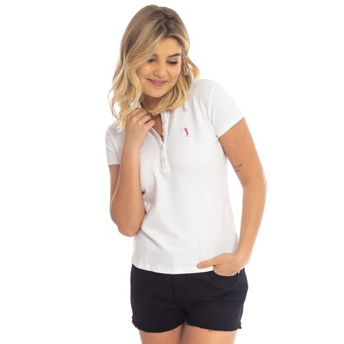 e9104710e Camisa Polo Aleatory Feminina Branca Lisa - Aleatory