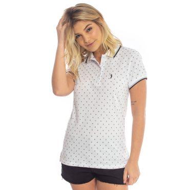 b4461e957 Camisa Polo Aleatory Feminina Mini Print Flare