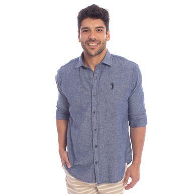 7ec859751 Camisa Aleatory Manga Longa Linho Azul Jeans - Aleatory