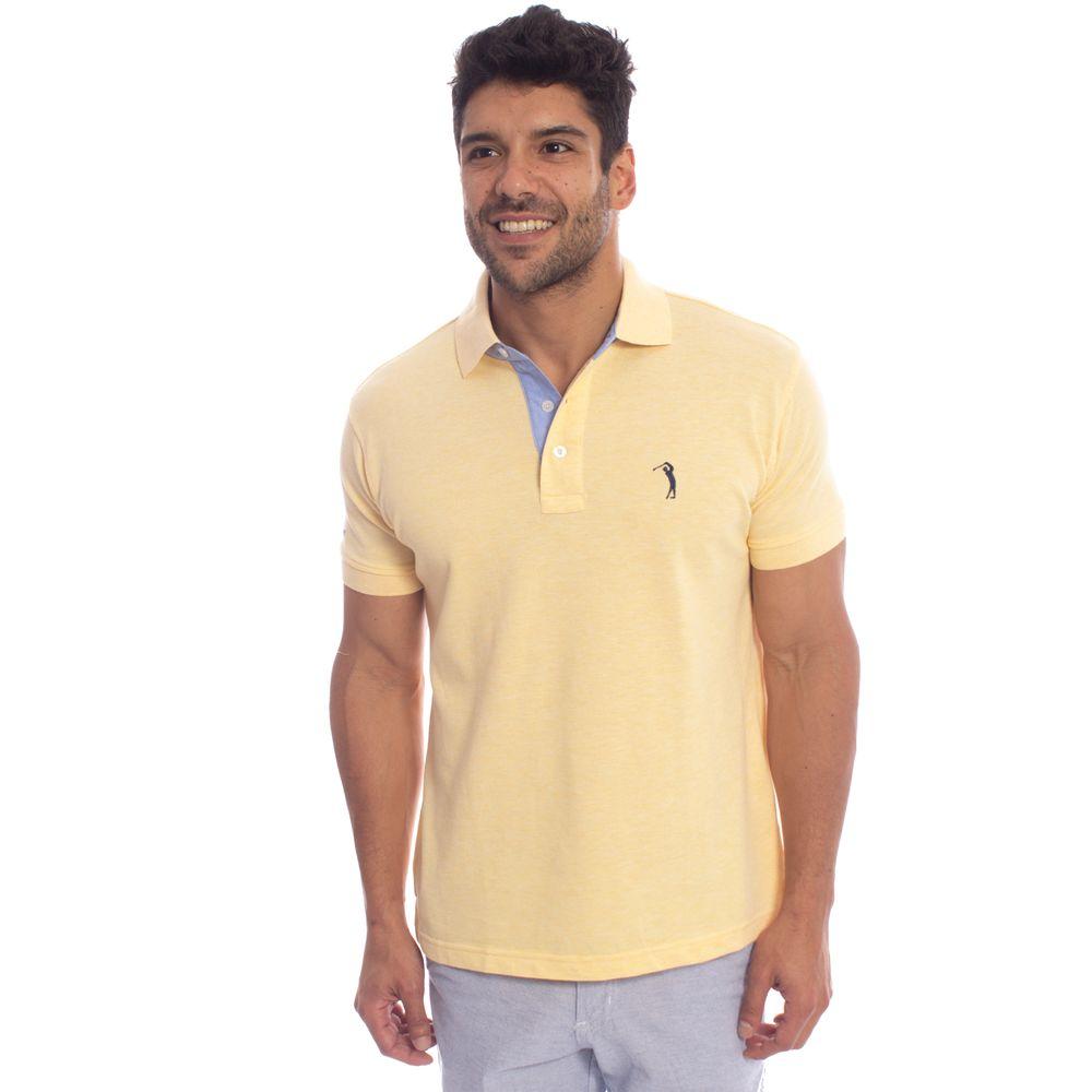 a2f837e253 Camisa Polo Aleatory Lisa Mescla Amarelo - Aleatory