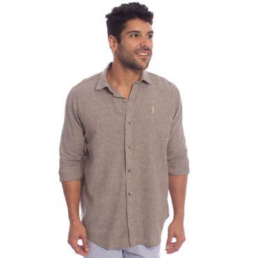 camisa-aleatory-masculina-linho-marrom-modelo-1-