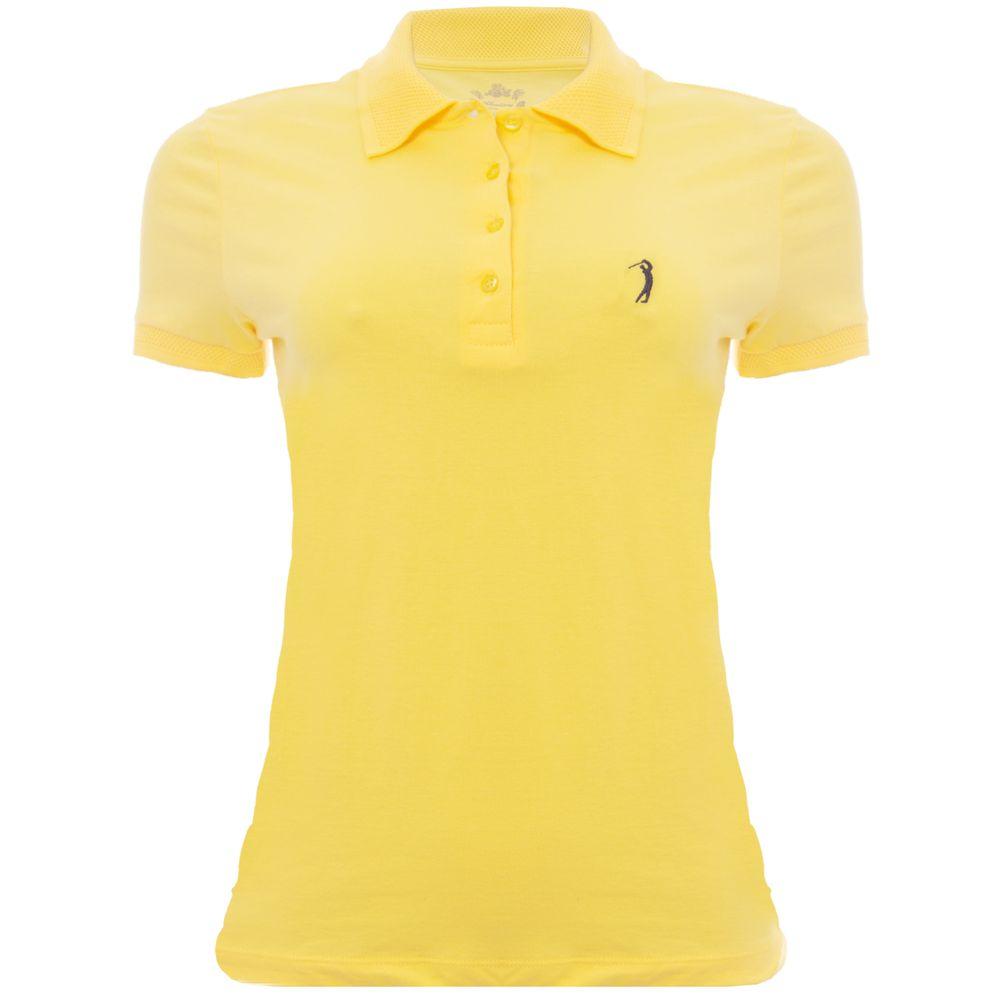Camisa Polo Aleatory Feminina Piquet Lisa Lycra Amarela - Aleatory 1ca7ec7127180