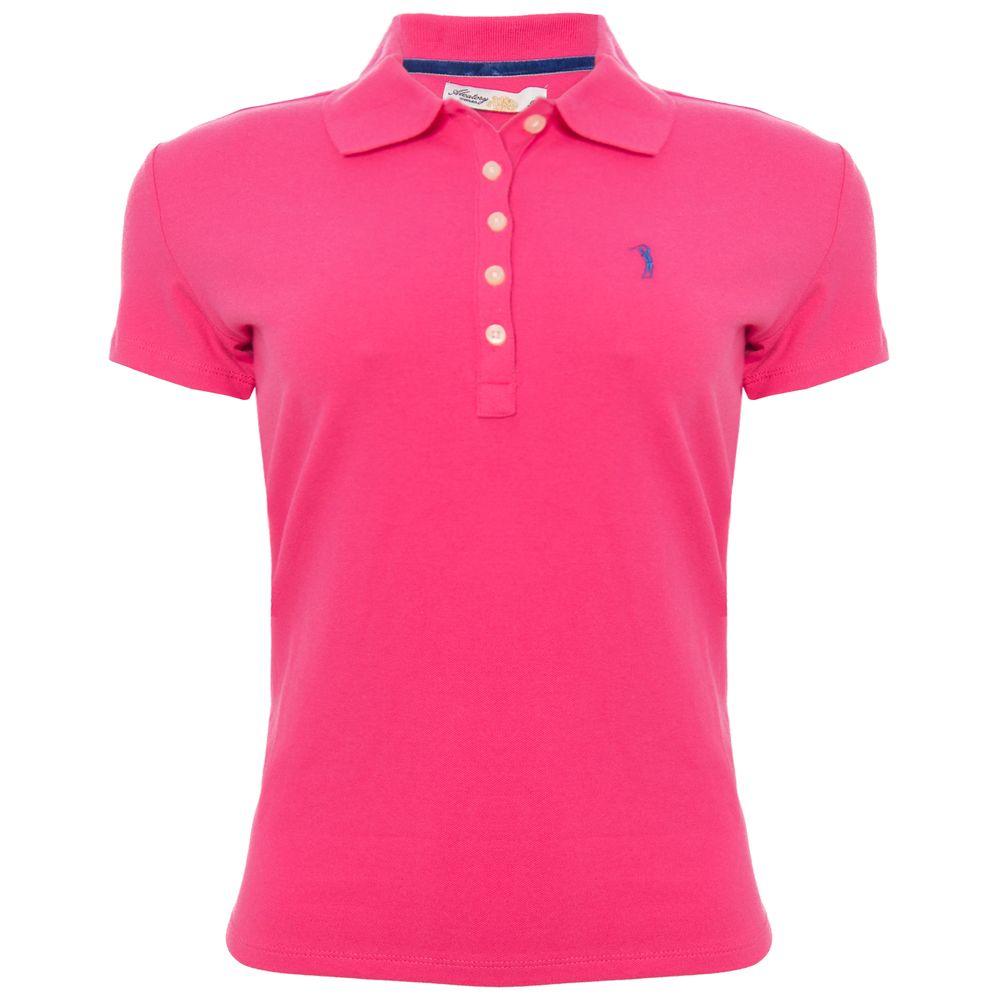 b0e805f6c2 Camisa Polo Aleatory Feminina Rosa Lisa - Aleatory