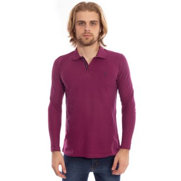 camisa-polo-aleatory-piquet-lisa-manga-longa-roxa-modelo-1-