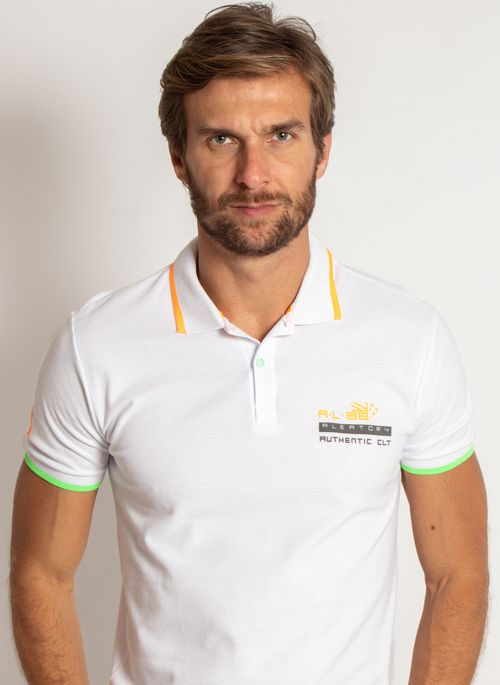 camisa-polo-aleatory-masculina-piquet-neon-branco-modelo-1-