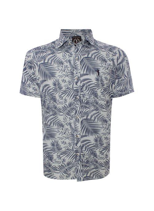 camisa de botão manga curta estampada em cores neutras da Aleatory é fácil de combinar com outras peças lisas ou estampadas