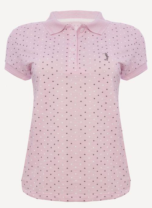 Camisa polo rosa com estampa poá  é clássica e romântica