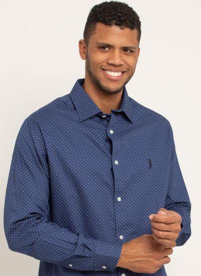camisa-masculina-aleatorty-tech-strech-dot-azul-modelo-1-