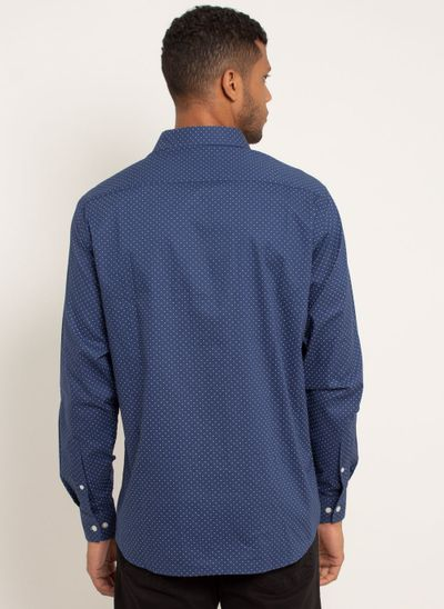 camisa-masculina-aleatorty-tech-strech-dot-azul-modelo-2-