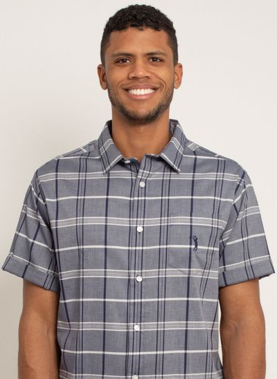 camisa-masculina-aleatorty-tech-strech-xadrez-manda-curta-azul-modelo-1-