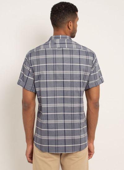 camisa-masculina-aleatorty-tech-strech-xadrez-manda-curta-azul-modelo-2-