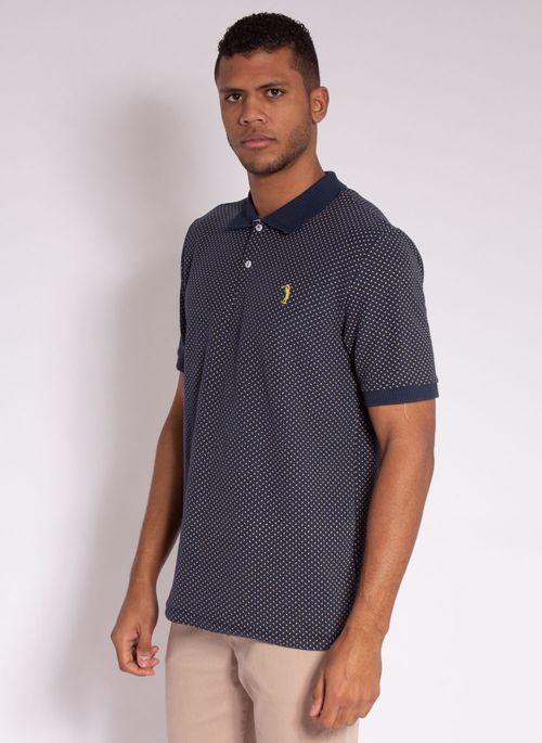 camisa-polo-aleatory-masculina-piquet-mini-print-fit-marinho-modelo-4-