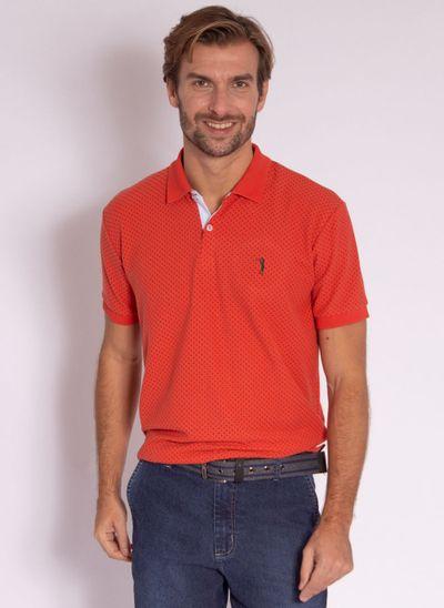 camisa-polo-aleatory-masculina-piquet-mini-print-fit-laranja-modelo-2-