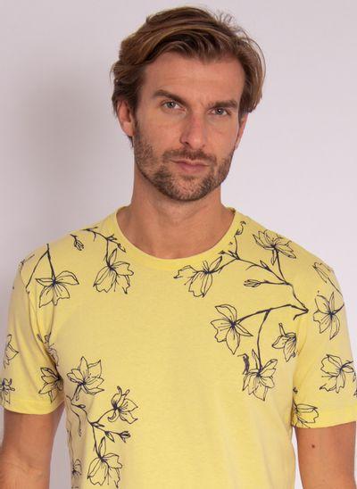 camiseta-aleatory-masculina-mini-print-hamdsome-amarelo-modelo-1-