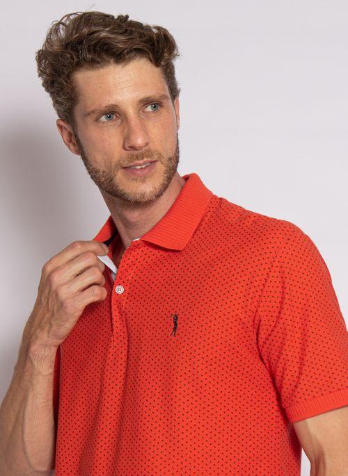camisa-polo-aleatory-masculina-piquet-mini-print-fit-laranja-modelo-2020-1-