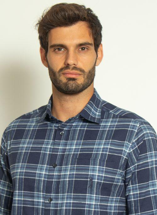 camisa-aleatory-masculina-xadrez-touch-marinho-com-bolso--modelo--1-