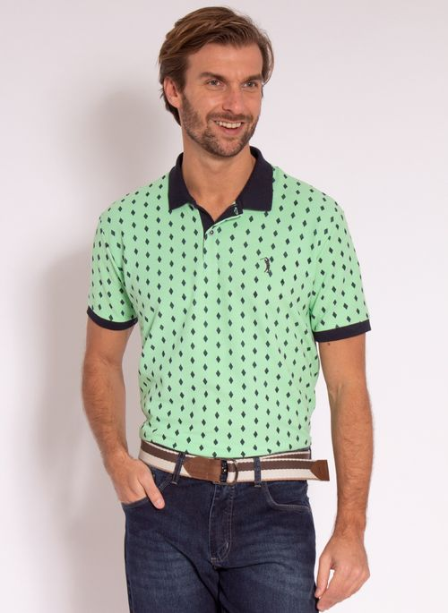 camisa-polo-aleatory-masculina-estampada-diamond-verde-modelo-2-
