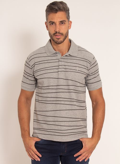 camisa-polo-aleatory-masculina-piquet-estampada-line-cinza-modelo-4-