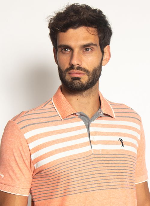 Camisa-Polo-Aleatory-Listrada-Piquet-Binado-Smooth-Laranja-Laranja-M