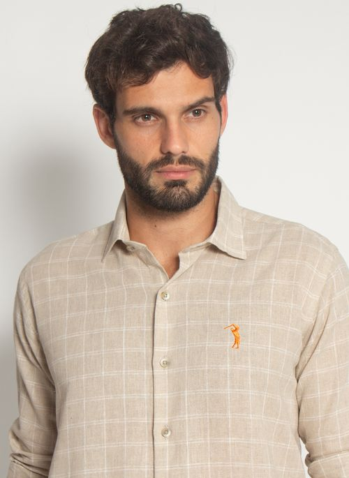 Camisa-Aleatory-Linho-Xadrez-Bege-Bege-P