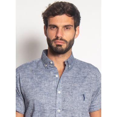 Camisa-Linho-Misto-Aleatory-Manga-Curta-Fly-Marinho-Azul-Marinho-P