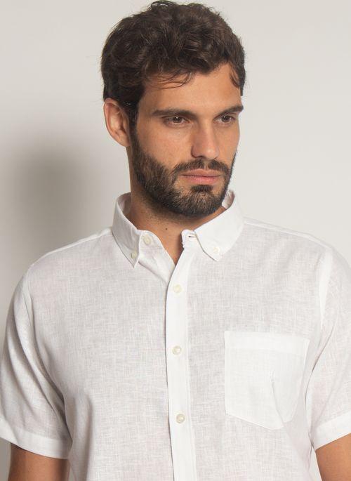 Camisa-Linho-Misto-Aleatory-Manga-Curta-Spot-Branca-Branco-P