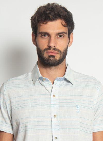 Camisa-Aleatory-Modern-Manga-Curta-Listrada-Azul-Azul-P